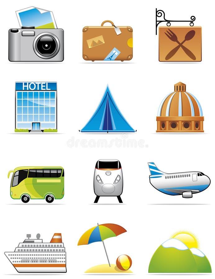 De pictogrammen van de vakantie en van de reis vector illustratie