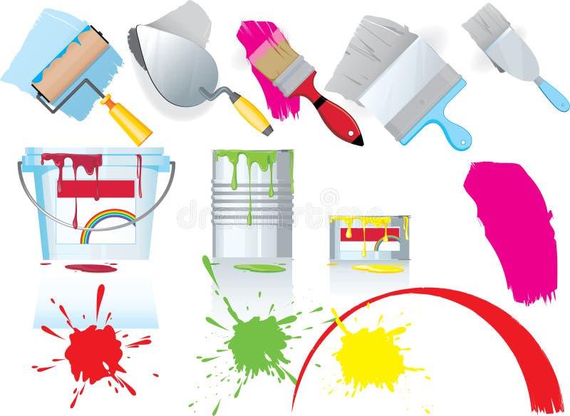De pictogrammen van de verf en het schilderen vector illustratie
