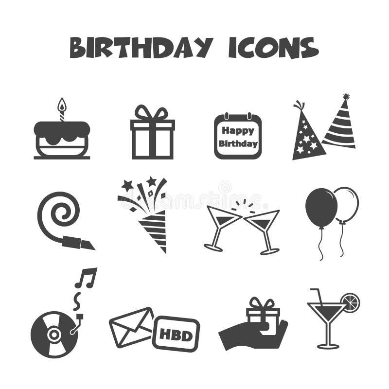 De pictogrammen van de verjaardag royalty-vrije illustratie