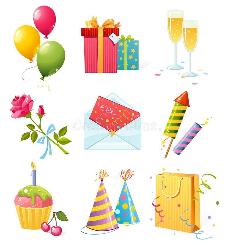 De pictogrammen van de verjaardag vector illustratie
