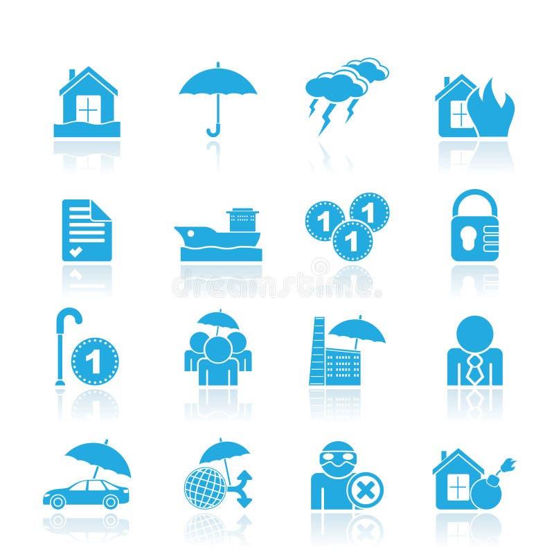 De pictogrammen van de verzekering en van het risico royalty-vrije illustratie