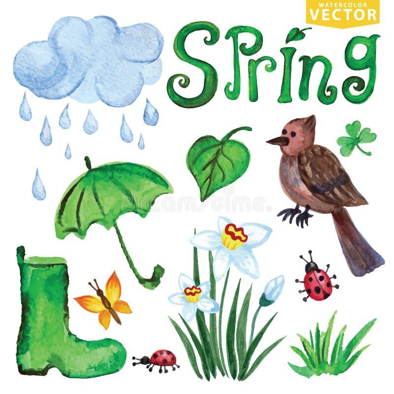 De pictogrammen van de waterverflente Wolken, Word, vogel, bloemen royalty-vrije illustratie