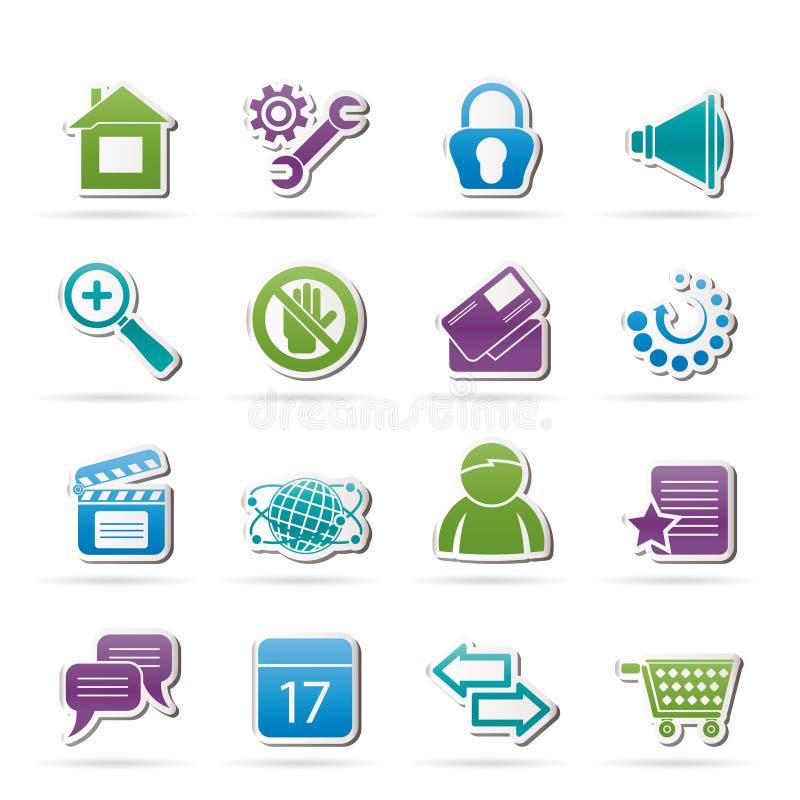 De pictogrammen van de website en van Internet vector illustratie