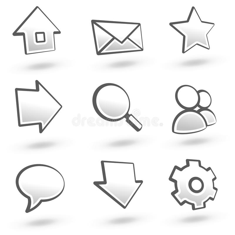De pictogrammen van de website plaatsen 01: Grijs. royalty-vrije illustratie