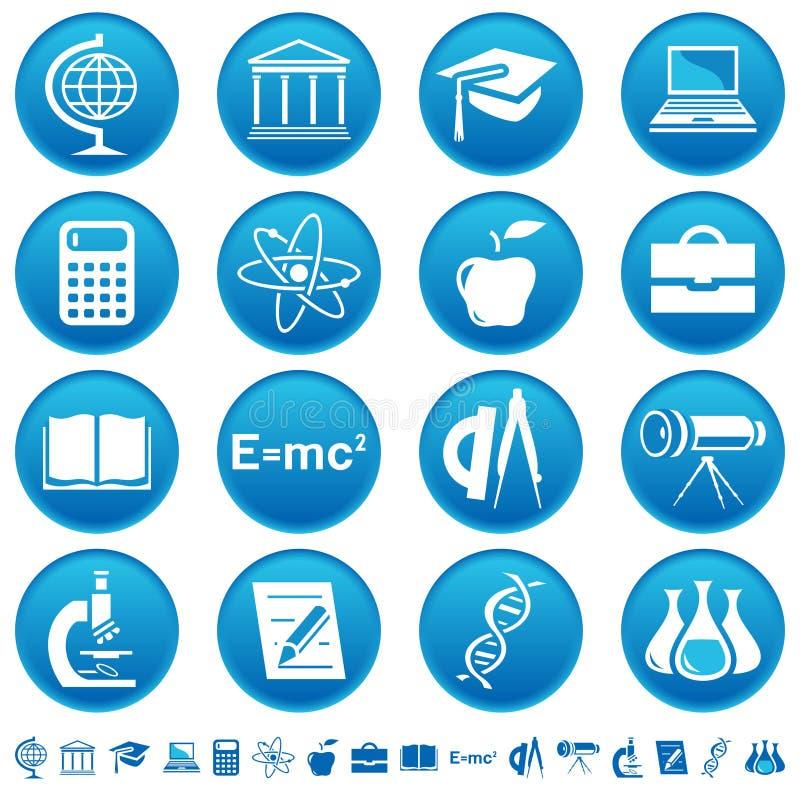 De pictogrammen van de wetenschap & van het onderwijs stock illustratie
