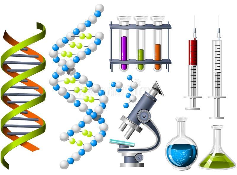 De pictogrammen van de wetenschap en van de Genetica vector illustratie