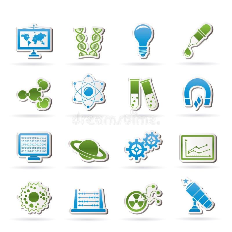 De Pictogrammen van de wetenschap, van het onderzoek en van het onderwijs vector illustratie