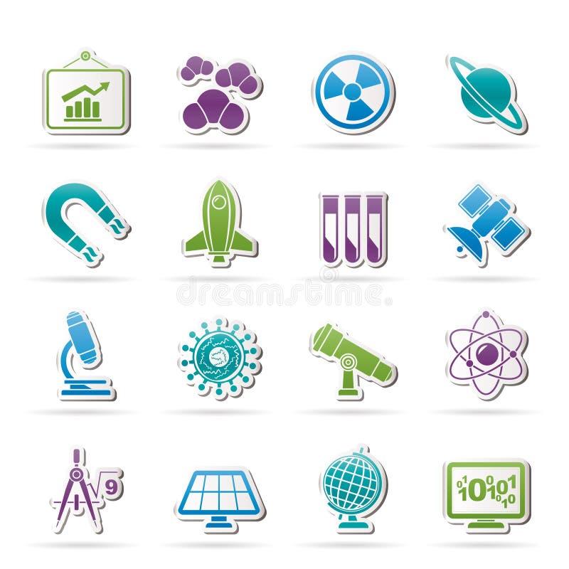 De Pictogrammen van de wetenschap, van het onderzoek en van het onderwijs stock illustratie