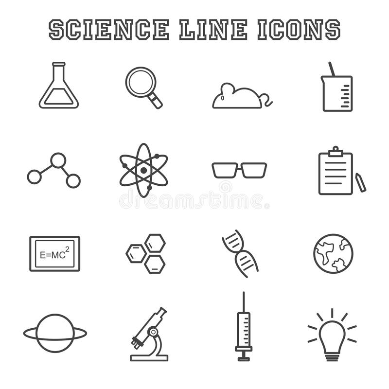 De pictogrammen van de wetenschapslijn vector illustratie