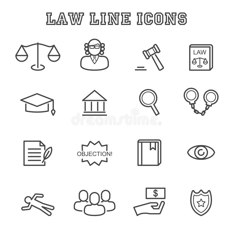 De pictogrammen van de wetslijn vector illustratie