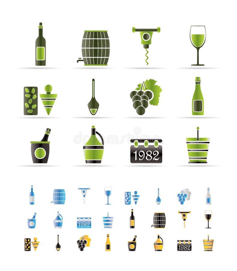 De Pictogrammen van de wijn