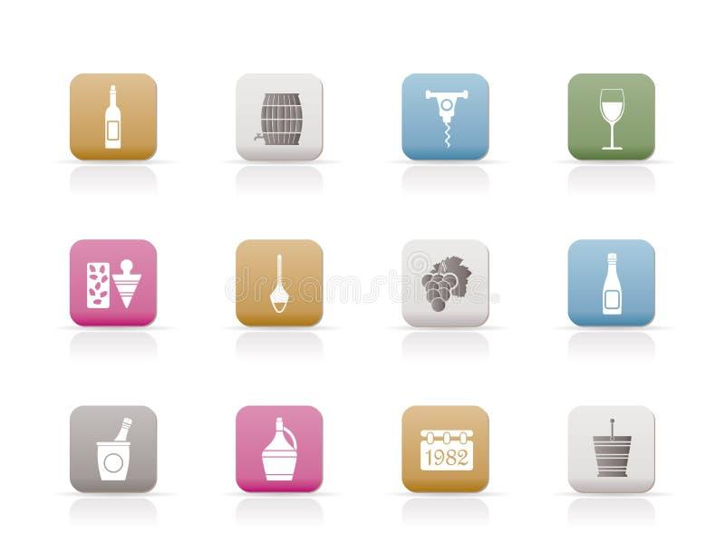 De Pictogrammen van de wijn royalty-vrije illustratie