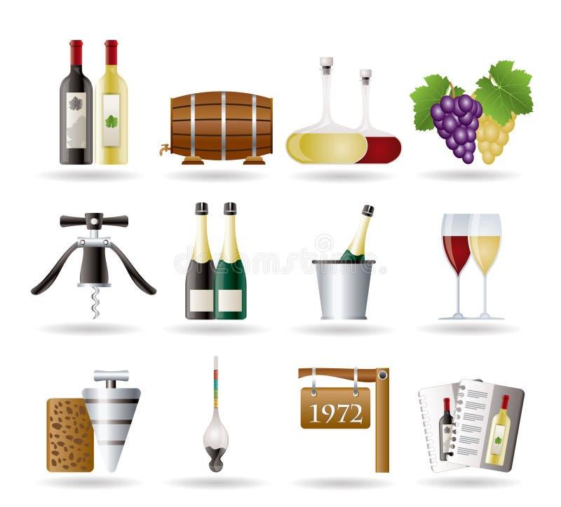 De Pictogrammen van de wijn en van de drank vector illustratie