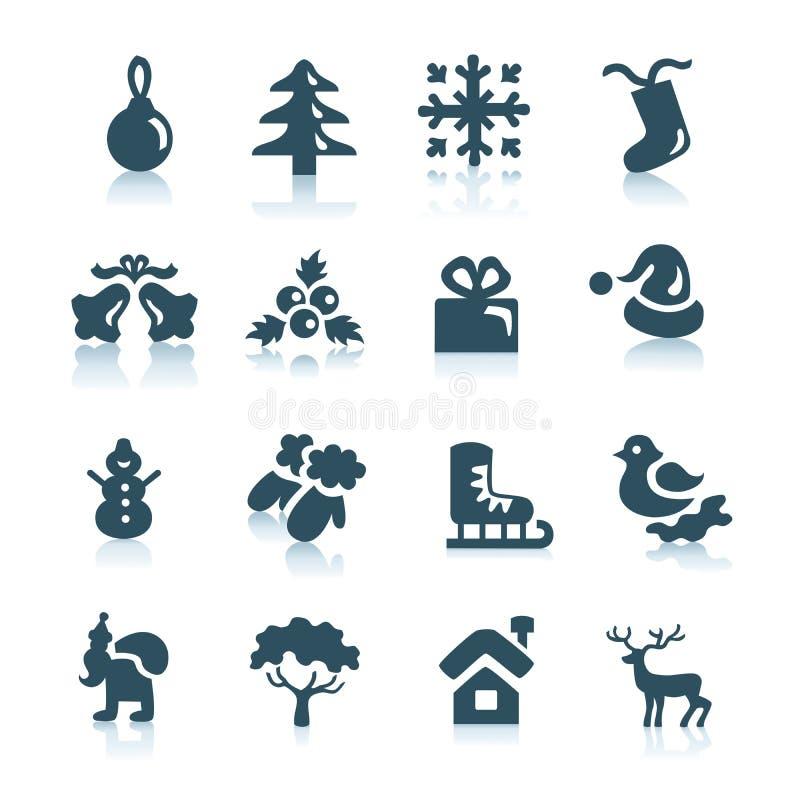 De pictogrammen van de winter en van Kerstmis royalty-vrije stock afbeeldingen