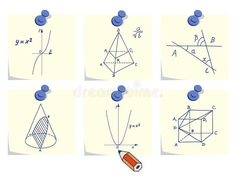 De pictogrammen van de wiskunde en van de meetkunde stock illustratie