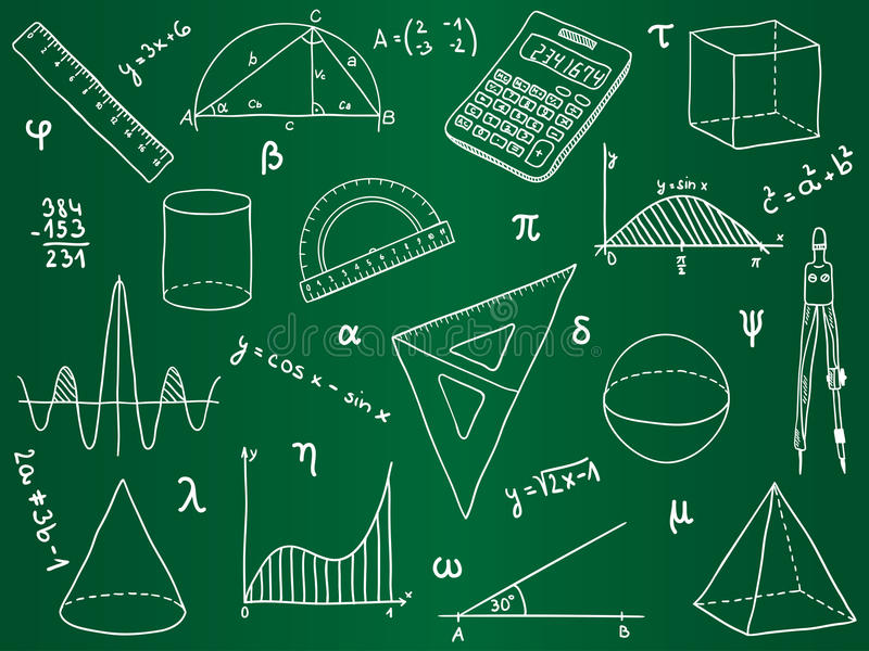 De pictogrammen van de wiskunde op schoolraad vector illustratie