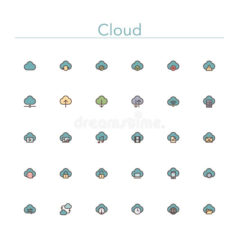 De Pictogrammen van de wolken Rassenbarrière stock illustratie