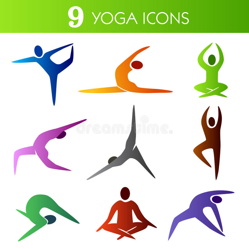 De Pictogrammen van de yoga stock illustratie