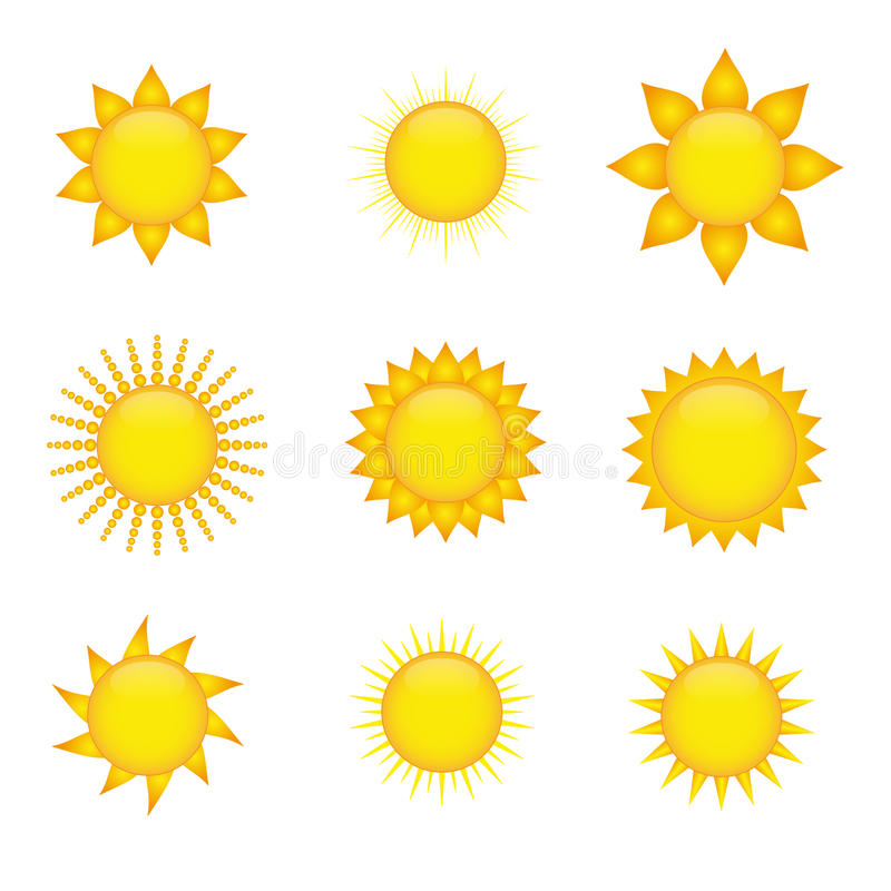 De pictogrammen van de zon vector illustratie