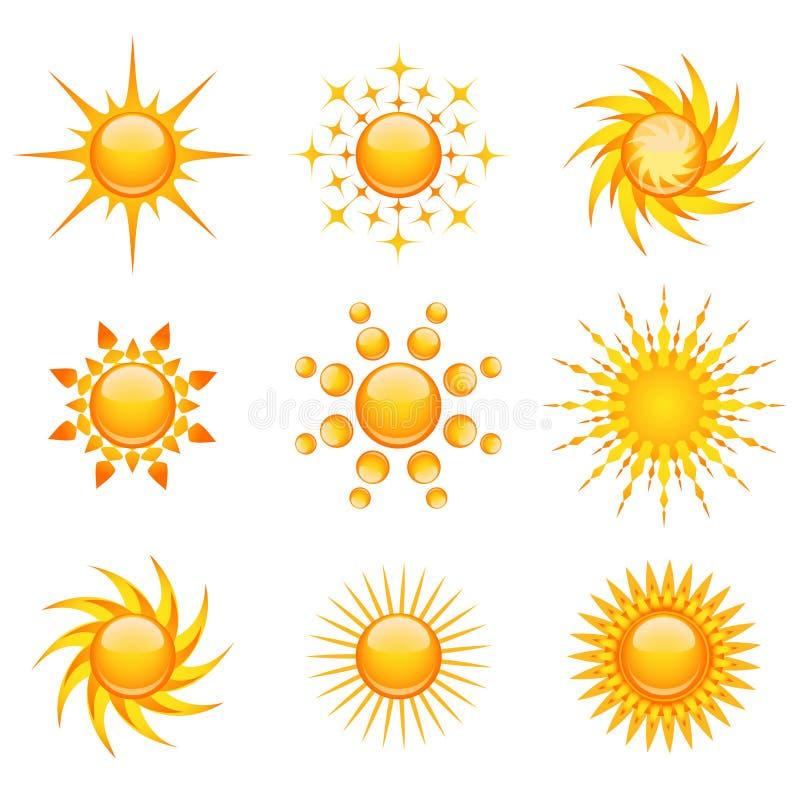 De pictogrammen van de zon stock illustratie