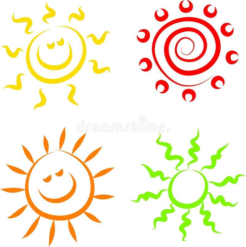 De pictogrammen van de zon vector illustratie