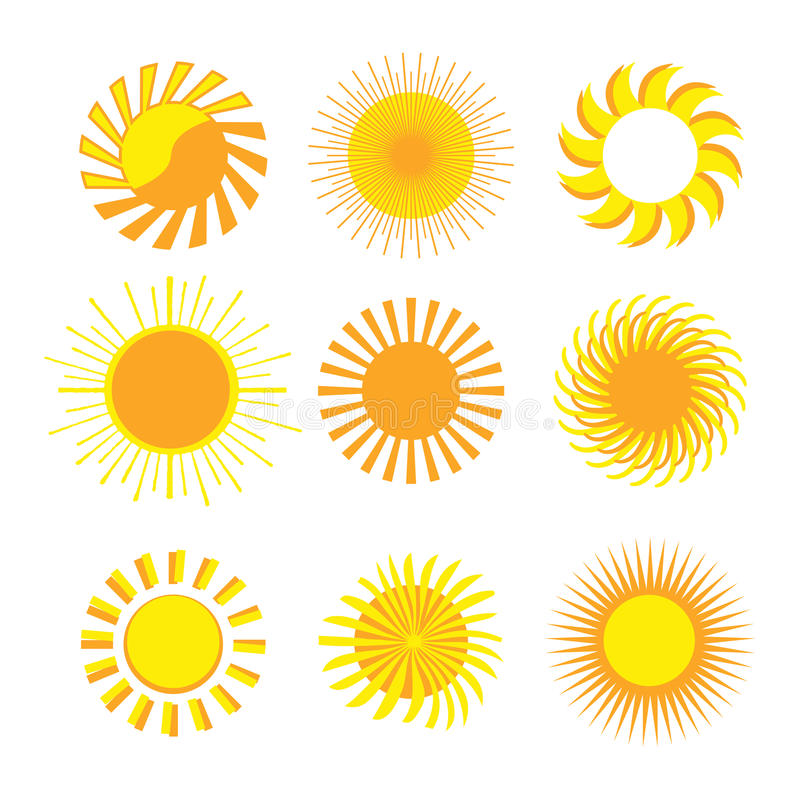 De pictogrammen van de zon stock illustratie