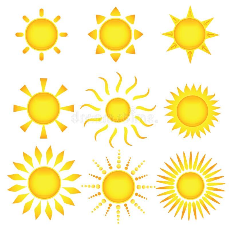 De pictogrammen van de zon. Vector illustratie stock illustratie