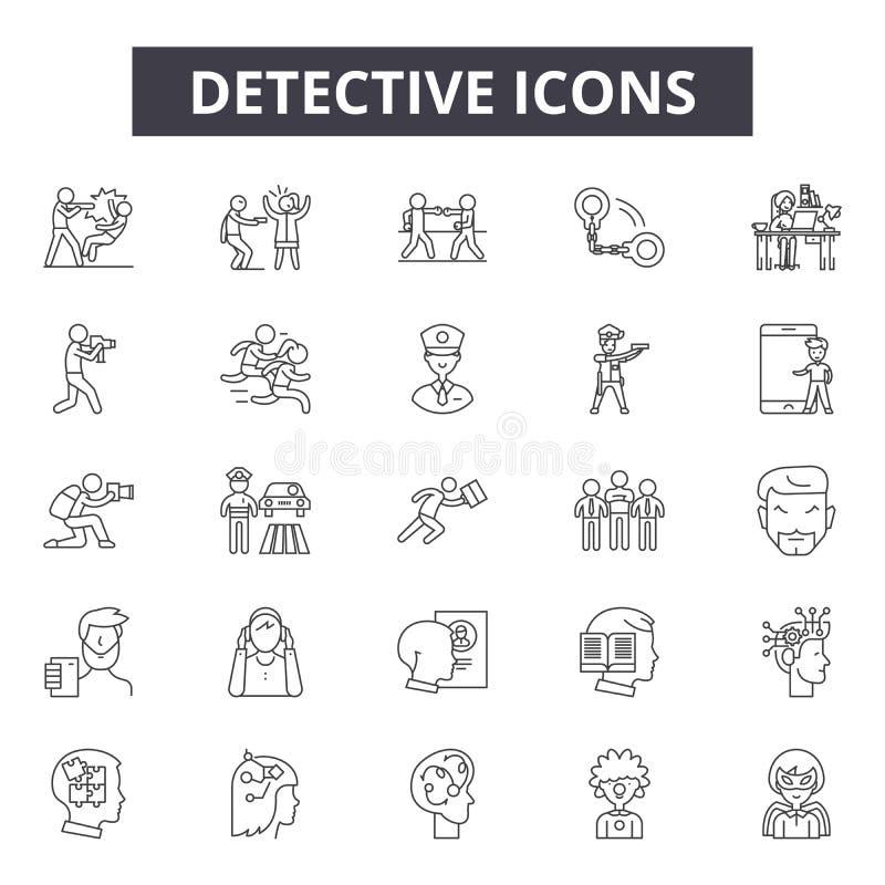 De pictogrammen van de detectivelijn, tekens, vectorreeks, het concept van de overzichtsillustratie stock illustratie