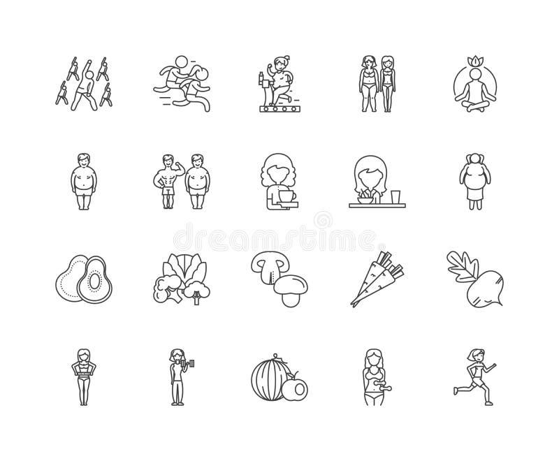 De pictogrammen van de dieetlijn, tekens, vectorreeks, het concept van de overzichtsillustratie royalty-vrije illustratie