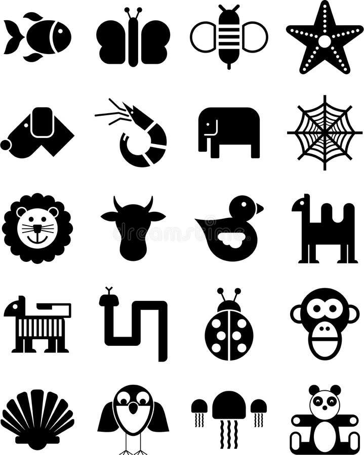 De pictogrammen van dieren royalty-vrije illustratie