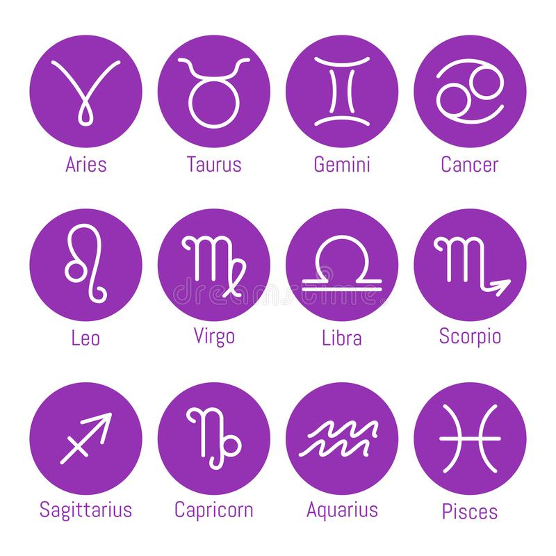 De pictogrammen van dierenriemtekens, geplaatste horoscoopsymbolen, vectorillustratie vector illustratie