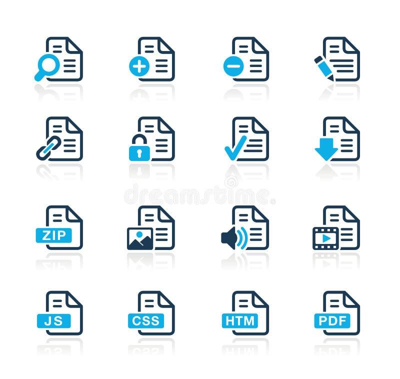 De Pictogrammen van documenten - 1 Azuurblauwe Reeks van // vector illustratie