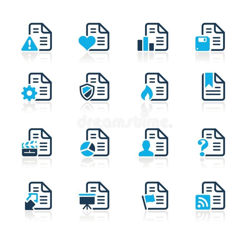 De Pictogrammen van documenten - 2 Azuurblauwe Reeksen van // royalty-vrije illustratie