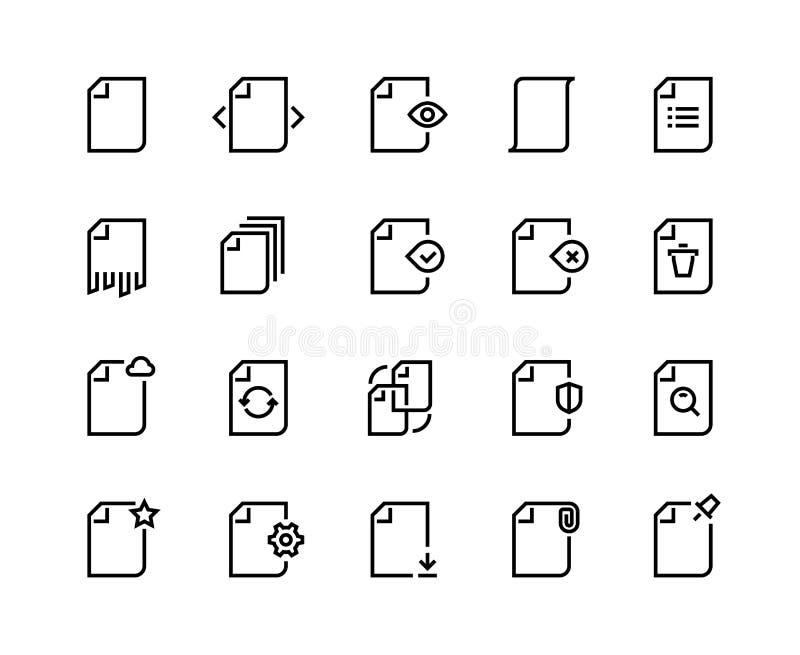 De Pictogrammen van de documentenlijn Van het verslaggegevens van het handelspapierdossier van het het procesonderzoek van de de  vector illustratie