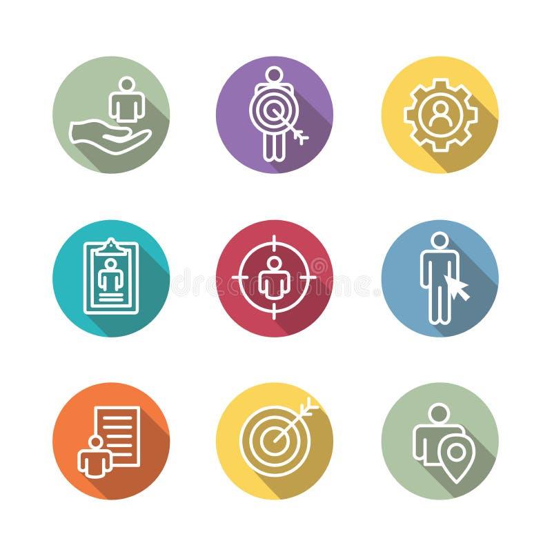 De pictogrammen van de doelmarkt van kopersbeeld en persona - toestel, pijl, n stock illustratie