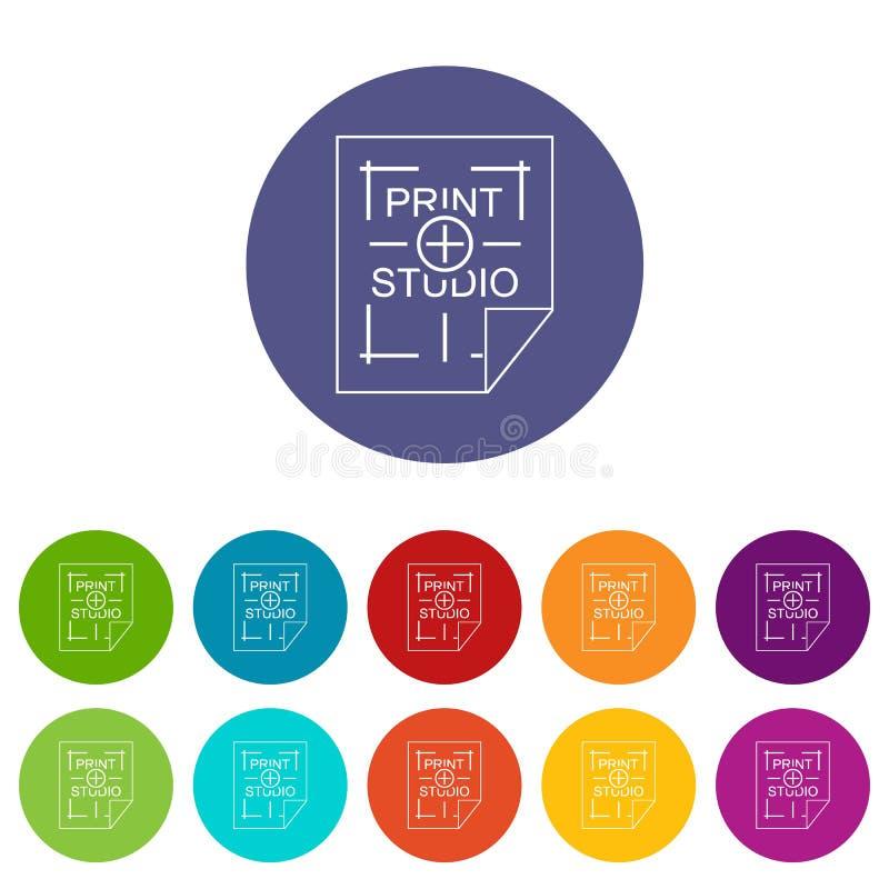 De pictogrammen van de drukstudio geplaatst vectorkleur stock illustratie