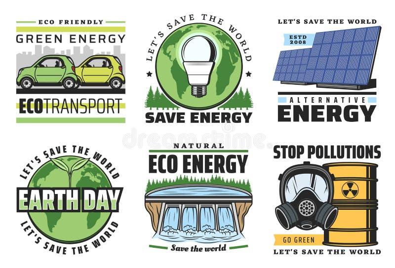 De pictogrammen van de Ecoenergie, bol, groene bladeren, zonnemacht royalty-vrije illustratie