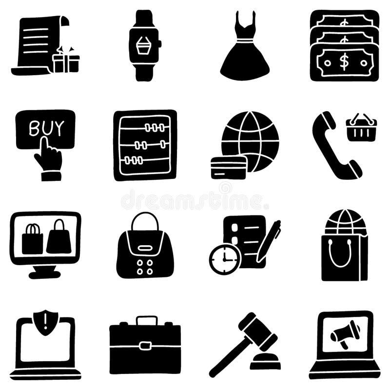 De Pictogrammen van elektronische handelglyph vector illustratie