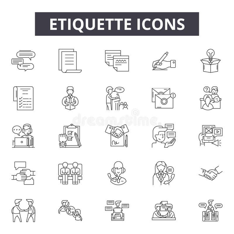 De pictogrammen van de etiquettelijn, tekens, vectorreeks, het concept van de overzichtsillustratie royalty-vrije illustratie