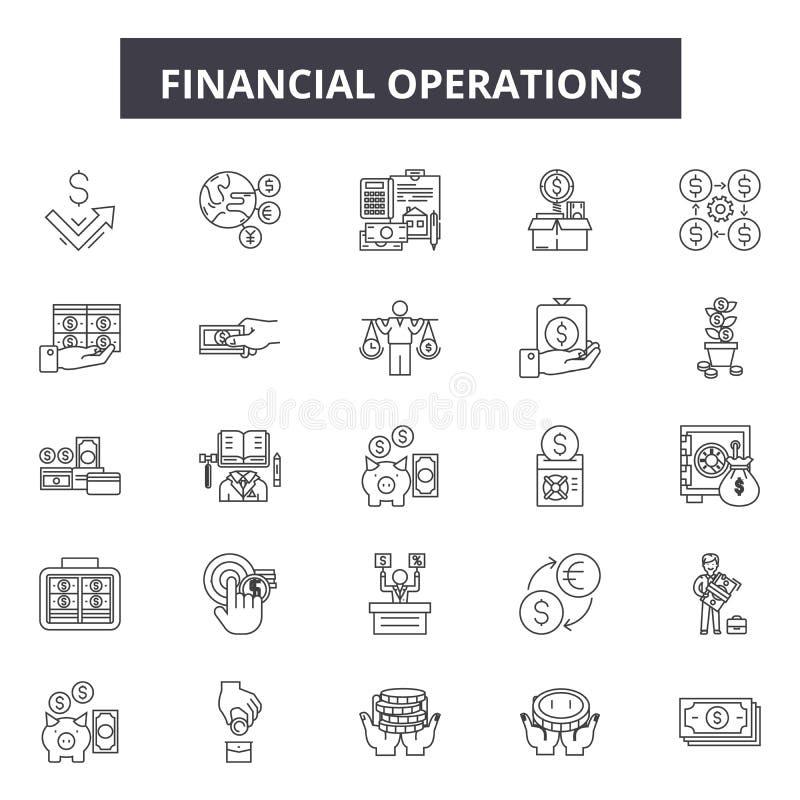 De pictogrammen van de financiële transactieslijn, tekens, vectorreeks, het concept van de overzichtsillustratie stock illustratie