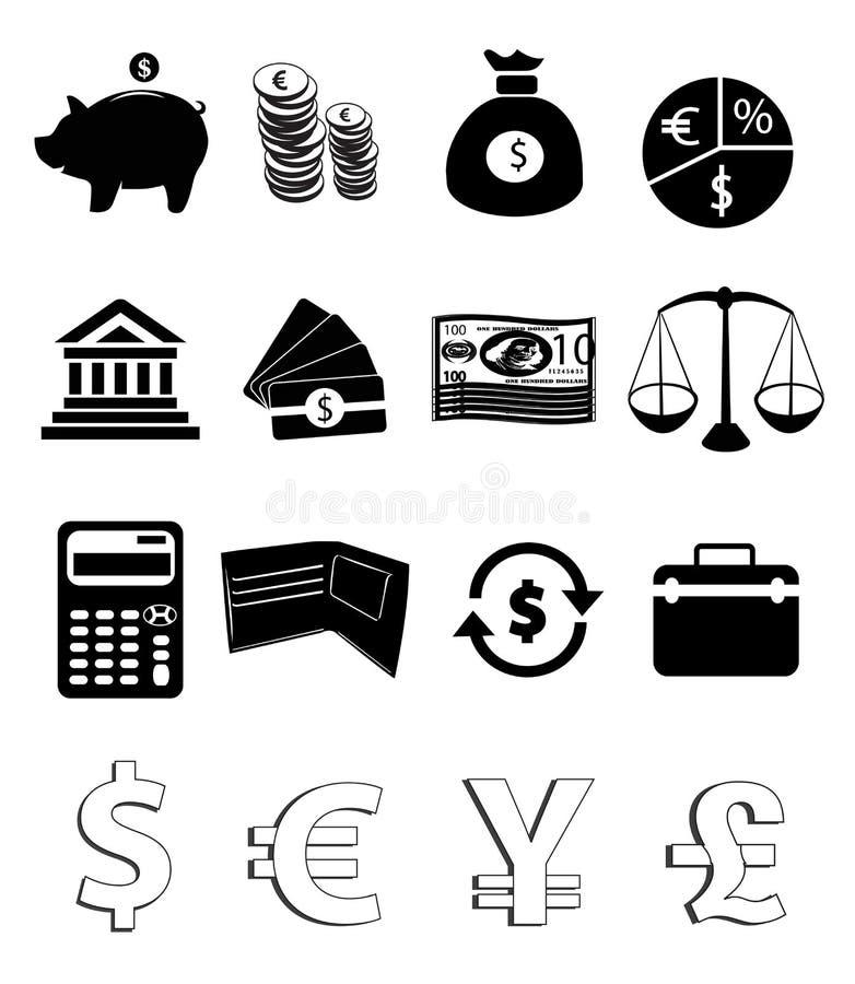 De Pictogrammen van financiën stock illustratie
