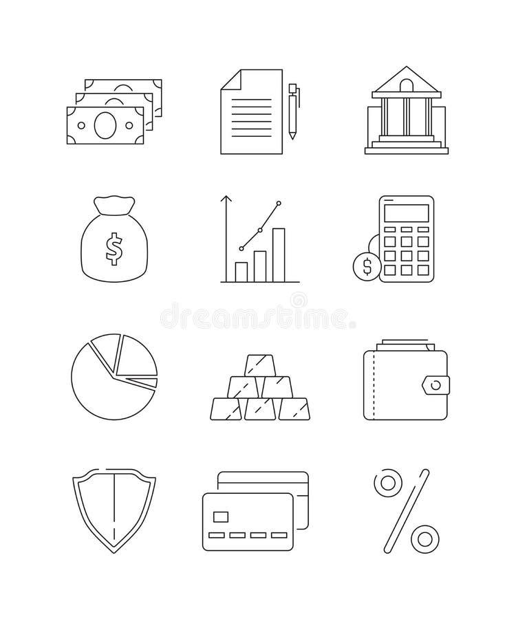 De Pictogrammen van financiën Van de bedrijfs en bank van het geld verdunt de globale financiën economiebetaling de wets vectorli vector illustratie