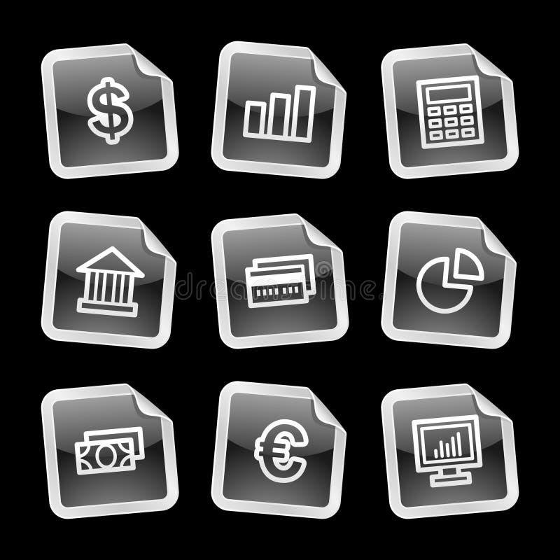 De pictogrammen van financiën, zwarte sticker stock illustratie