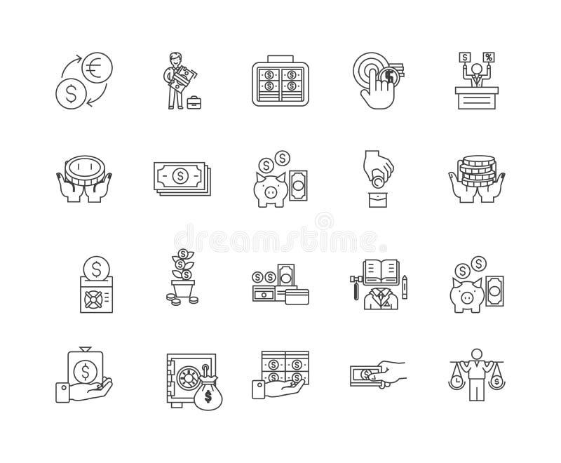De pictogrammen van de financi?le transactieslijn, tekens, vectorreeks, het concept van de overzichtsillustratie stock illustratie