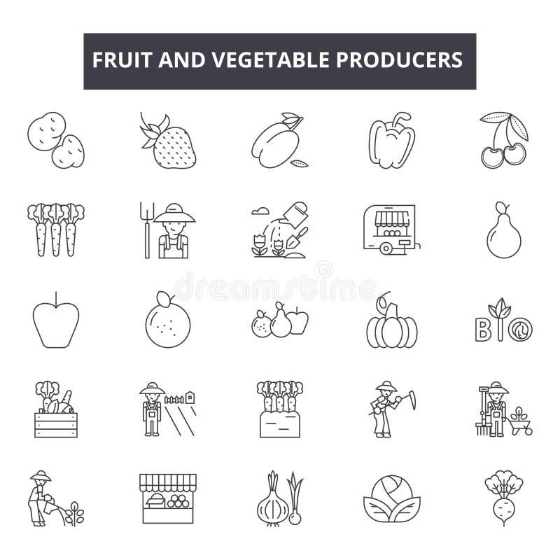 De pictogrammen van de fruit en plantaardige producentenlijn, geplaatste tekens, vector Het concept van het fruit en plantaardige vector illustratie