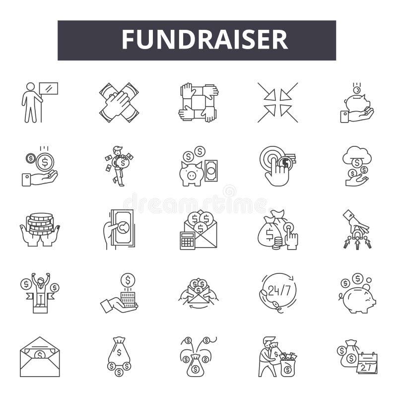 De pictogrammen van de Fundraiserlijn, tekens, vectorreeks, lineair concept, overzichtsillustratie stock illustratie