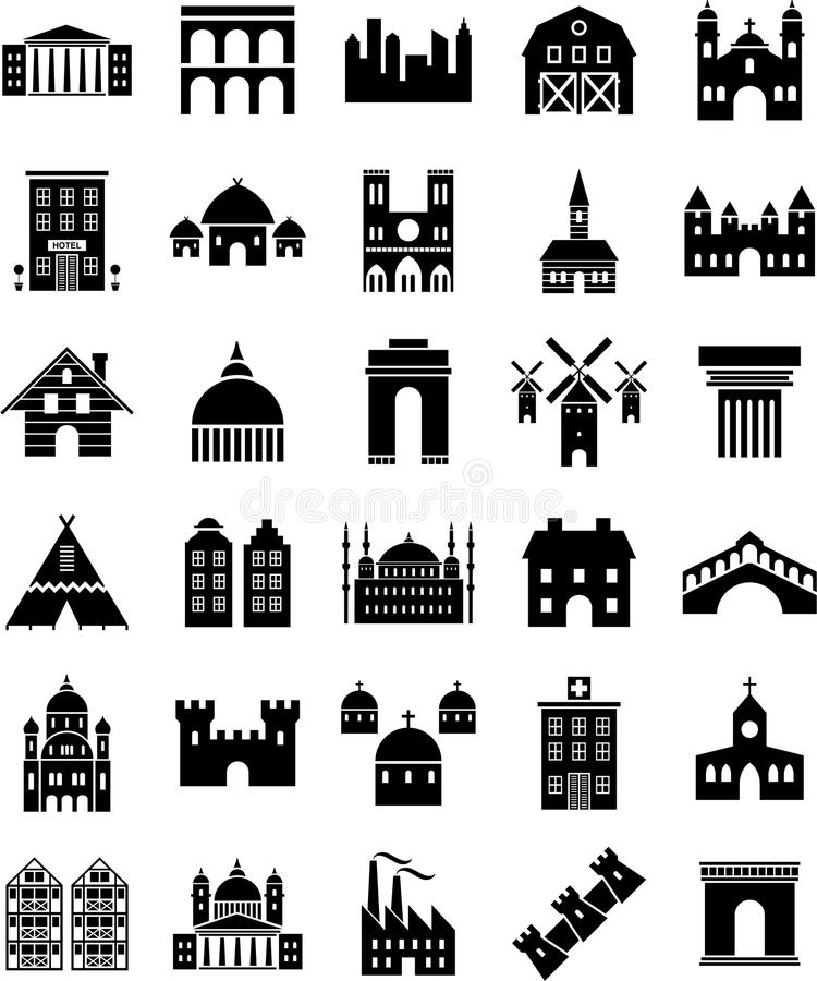 De pictogrammen van gebouwen royalty-vrije illustratie