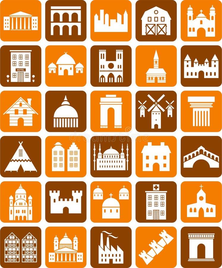 De pictogrammen van gebouwen stock illustratie