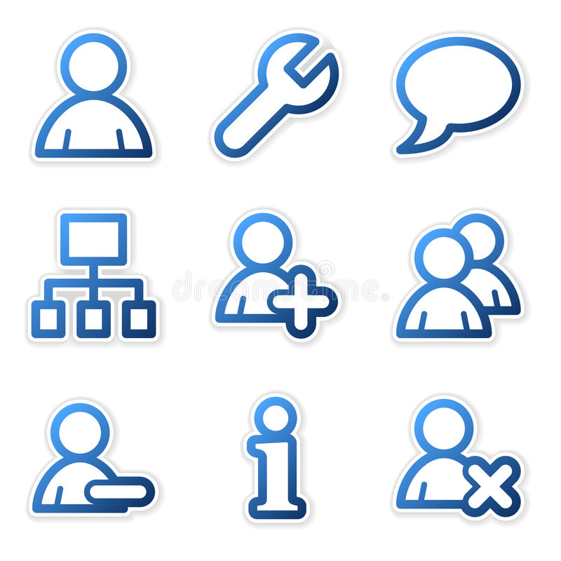 De pictogrammen van gebruikers, blauwe reeks stock illustratie