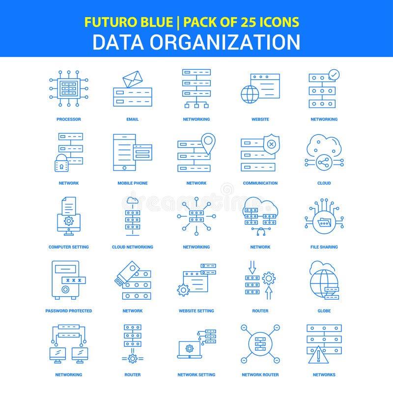 De Pictogrammen van de gegevensorganisatie - Blauw 25 Pictogrampak van Futuro vector illustratie